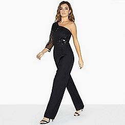 Little Mistress - Black bonnie one shoulder jumpsuit in sequin mesh