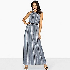 Little Mistress - Grey kylie metal stripe skater maxi dress