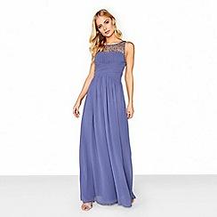 Little Mistress - Lavender grey embellished maxi dress
