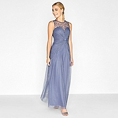 Little Mistress - Grey knot waist maxi dress