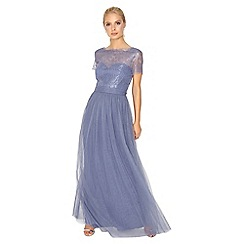 Little Mistress - Lavender lace overlay maxi dress