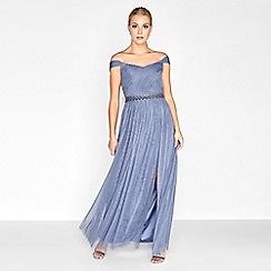Little Mistress - Lavender grey jewel waist maxi dress