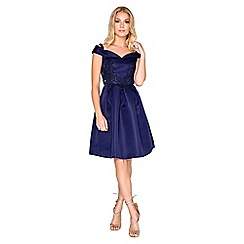 Little Mistress - Navy applique prom dress