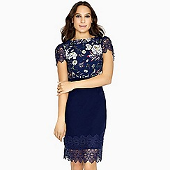 Paper Dolls - Navy orsta boucle dress with pearl