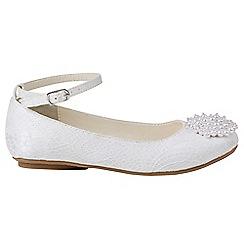 Monsoon - Girls' white pretty pearl pom pom ballerina