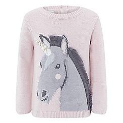 Monsoon - Baby girls' Pink 'Hilary' horse jumper
