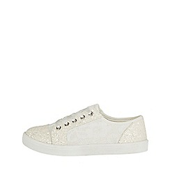 Monsoon - Girls' white flower girl lace up pumps