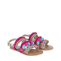 Monsoon - Girls' Multicoloured  Multi Pom Pom Beaded Sandal