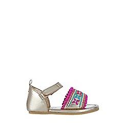 Monsoon - Baby girls' gold metallic 'Pom Pom' walker sandals