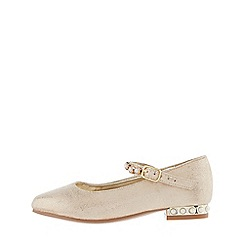 Monsoon - Girls' gold pearly heel and strap flats