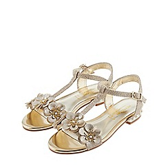 Monsoon - Girls' gold pearl and flower heel sandals