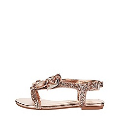 Monsoon - Girls' gold metallic rose glitter sandals