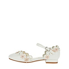 Monsoon - White 'Sadie' two part pearl fower flats