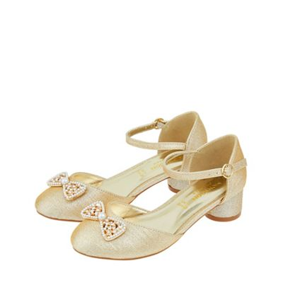 Monsoon - Gold 'Kayleigh' two part bow jazz shoes