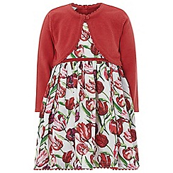 Monsoon - Red Baby girls' 'Betsy' Cardigan 2 in 1 Dress