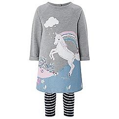 Monsoon - Baby girls' grey 'Freya' horse tunic set
