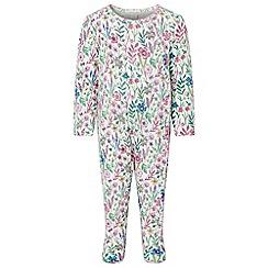 Monsoon - White new born baby girls 'Olivia' sleepsuit