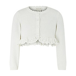 Monsoon - Baby girls' white 'Rosie' ruffle ivory bolero