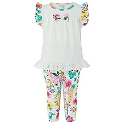 Monsoon - Baby girls' white new born 'Eloise' print set