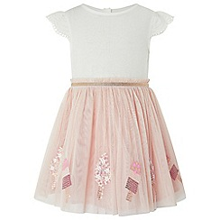 Monsoon - Baby girls' pink 'Lolly' disco dress
