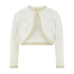 Monsoon - Baby girls' white Bow 'Pointelle' cardigan