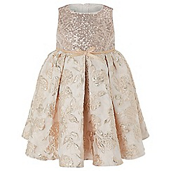 Monsoon - Baby girls' gold 'Rose Jacquard' dress