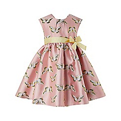 Monsoon - Baby girls' pink Baby 'Papillon Jacquard' dress