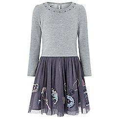 Monsoon - Girls' grey 'Enchanted' 2 in 1 dress