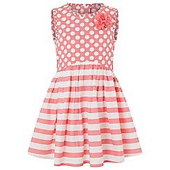 Monsoon - Pink spot & stripe dress
