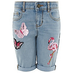 Monsoon - Blue flamingo butterfly embellished shorts