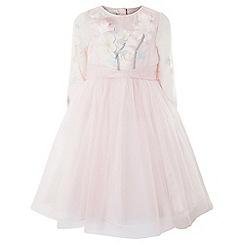 Monsoon - Girls' pink 'Fleur' long-sleeve dress