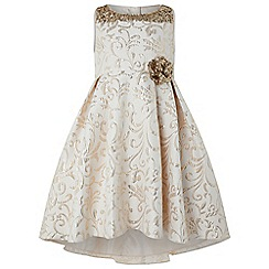 Monsoon - Girls' gold 'Consuela' Jacquard dress