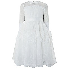 Monsoon - Girls' White 'Darcie' Long Sleeve Flower Dress