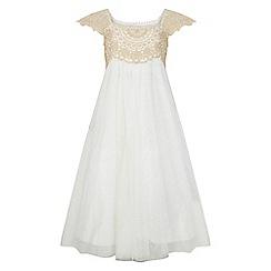 Monsoon - Girls' gold 'Estella' sparkle dress