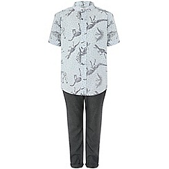 Monsoon - Boys' Grey 'Jude' Dino Shirt and Trouser Set