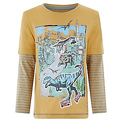 Monsoon - Boys' yellow 'Dixen' Dino scene long sleeved tee