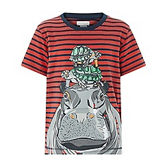 Monsoon - Boys' Red 'Kevin' Hippo Short Sleeve Pop Up Tee