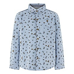 Monsoon - Boys' Blue 'Laurence' Bug Stripe Long Sleeve Shirt