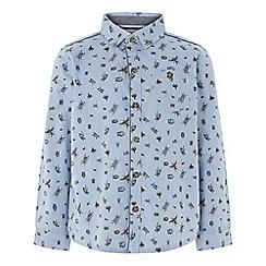 Monsoon - Boys' Blue 'Laurence' Bug Stripe Long Sleeve Shirt