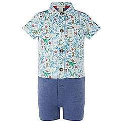 Monsoon - Baby boys' Blue newborn Jacob Dino shirt romper