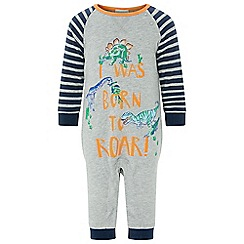 Monsoon - Baby boys' Grey newborn I Was Born To Roar sleepsuit