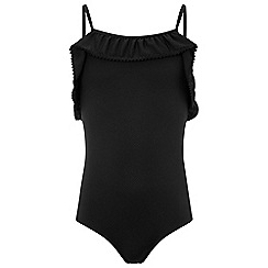 Monsoon - Girls' Black 'Ash' Frill Swimsuit