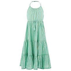Monsoon - Girls' Blue Sparkle Stripe Maxi Dress