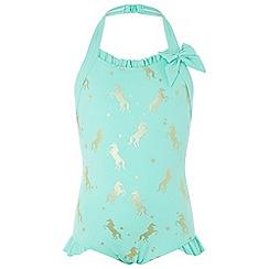 Monsoon - Girls' blue unicorn gold foil swimsuit