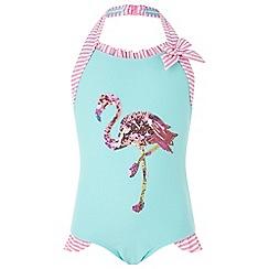 Monsoon - Girls' blue flamingo sequin swimsuit