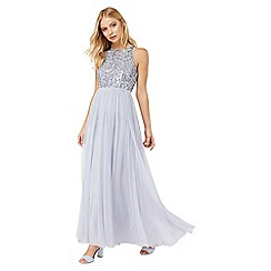 Monsoon - Silver 'Scarlett Emb' tulle maxi dress
