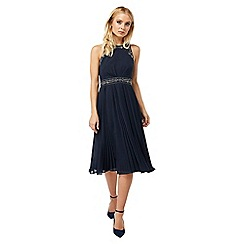 Monsoon - Blue 'Anna' embellished pleat dress