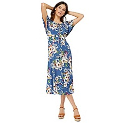 Monsoon - Blue 'Lori' print lace up midi dress