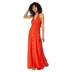 Monsoon - Orange 'Verita' embellished halter maxi dress