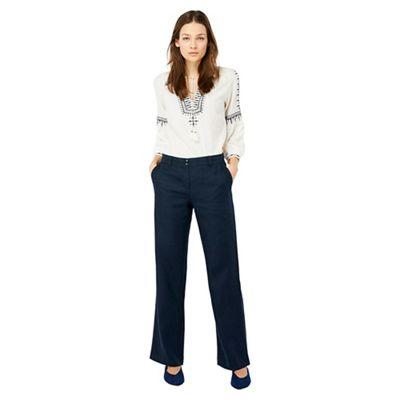 Monsoon   Blue 'penelope' Regular Linen Trousers by Monsoon